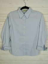Eddie Bauer Womens Long Sleeve Light Blue Button Up Blouse Size S Petitie W978 - $10.99