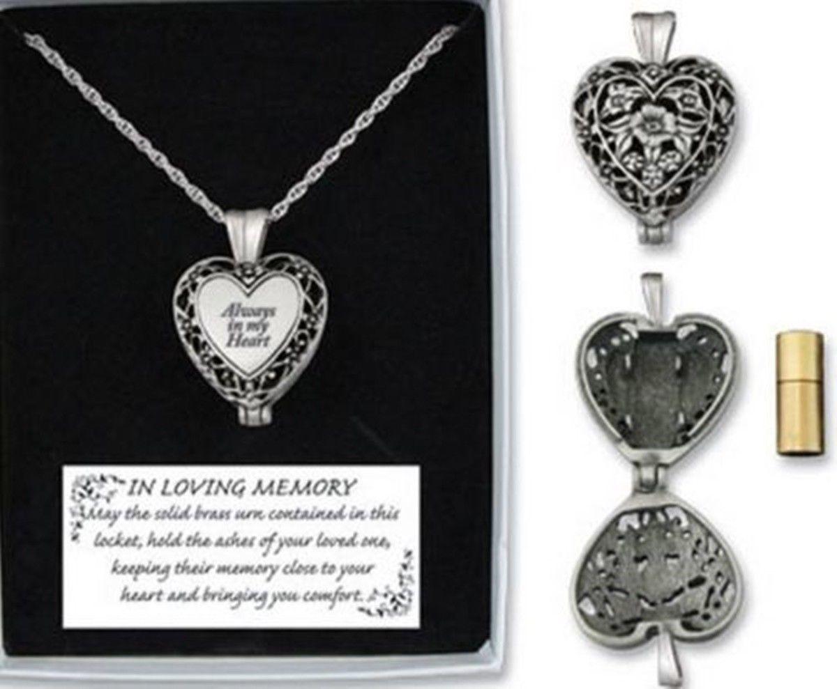 Memorial Locket Necklace Always in My Heart Cremation Ash Urn Keepsake
