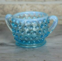 Vintage Hobnail Light Blue Glass Fenton Open Sugar Bowl Minature  - $9.70