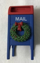 Dept 56 Blue Red USPS Mailbox with Christmas Wreath General Village Acce... - $9.74