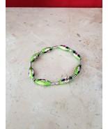 Handmade New Green Stretch Bracelet Ornate Beads - $9.99