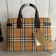 BURBERRY Medium Banner Vintage Check and Leather Tote- Deep Claret - $1,099.00