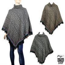 New Fall Winter Turtleneck Soft Warm Poncho Tribal Pattern Fringe Sweater - $24.99
