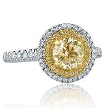 1.56 TCW Round Cut Light Yellow Diamond Engagement Ring 14k White Gold - $3,167.01