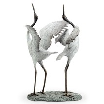 White Crane Garden Pair Good Fortune Feng Shui Sculpture  Bird Metal Poo... - $642.51