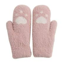 Lovely Cartoon Mitten Woolen Gloves Warm Winter Gloves Students Gloves [Pink]