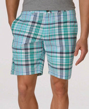 Club Room Pretty Pine Green Andre Plaid Flat Front Shorts - Size 40 - $19.95
