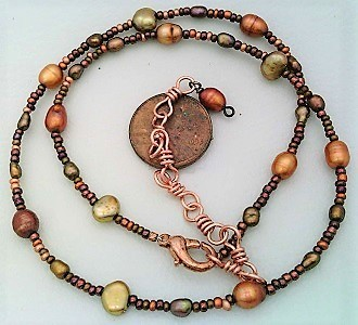 Copper Freshwater Pearl Necklace - $10.22