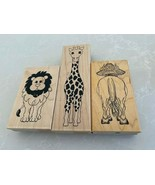 3 GREAT LARGE FUNNY WOOD MOUNTED CRAFT ANIMAL STAMPS - $16.82