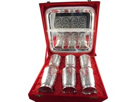 Traditional High Designed Silver Plated 6 In 1 Glass Set With Tray - $69.00