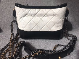 AUTHENTIC Chanel 2018 BLACK White Quilted Leather Small Gabrielle Hobo Bag GHW image 2