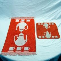 Vintage Cannon Set of Hand Towel And Washcloth Orange White Teapot Tea F... - $24.99