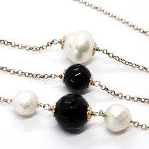 925 Silber Halskette Pink,Onyx Schwarz,Perlen,Lang 130 cm,Kette Rolo,2 Drehzahl image 5