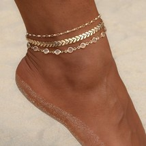 Crystal Sequins Ankle Bracelets Anklets Set 3Pcs Beach Foot Jewelry For Women - $12.73