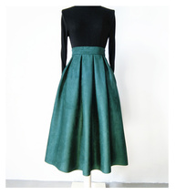 Women Suede Pleated Skirt High Waist Pleated Party Skirt DARK GREEN Suede Skirt image 1