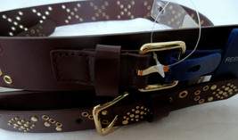 REBECCA MINKOFF Leather Belt Brown Burgundy Double Buckle Goldtone Studs... - $29.39