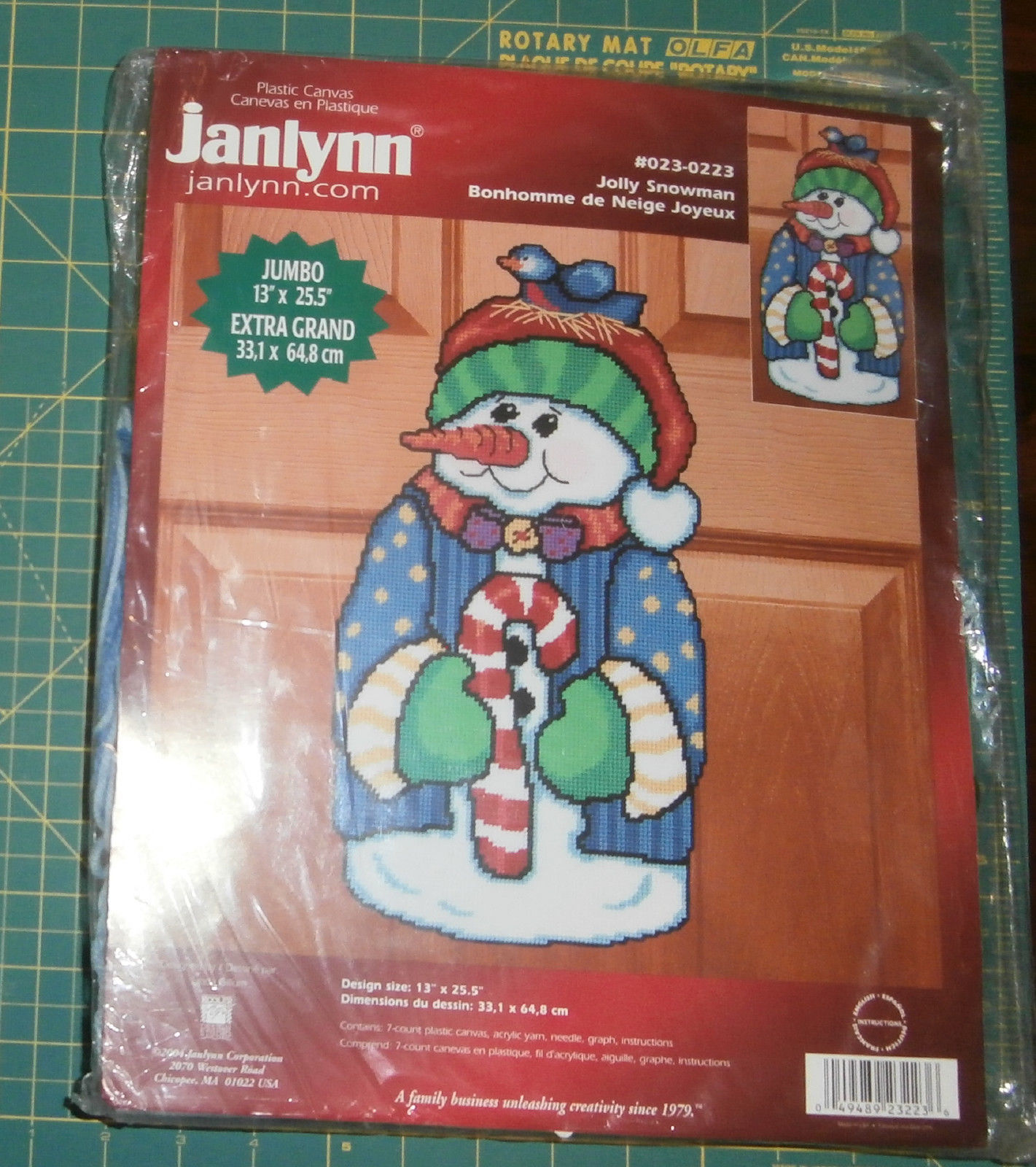 "Jolly Snowman Janlynn Plastic Canvas Kit 13"" x 25.5"" New Christmas"