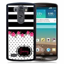 PERSONALIZED RUBBER CASE FOR LG G6 G5 G4 G3 BLACK STRIPES POLKA DOTS FLO... - $11.98+