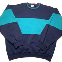 Vintage 90s Cheetah Mens L Color Block Striped Crewneck Sweatshirt Aqua ... - $34.58