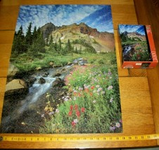 Jigsaw Puzzle 1000 Pcs Flowers Mountains Stream Trees Beautiful Day None Missing - $12.86