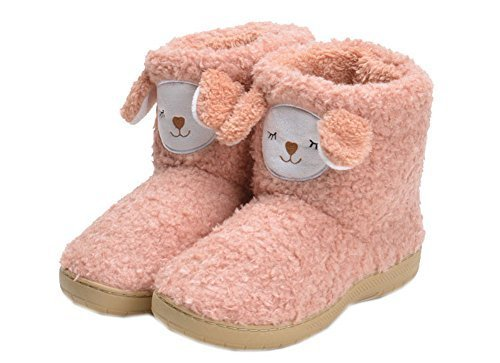 PANDA SUPERSTORE Cute Coral Orange Alpaca Shoes Slippers for Women, US 6.5-7