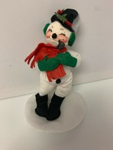 "Vintage ANNALEE Doll 9"" Snowman with Pipe 1991 Made in USA see details - $14.47"