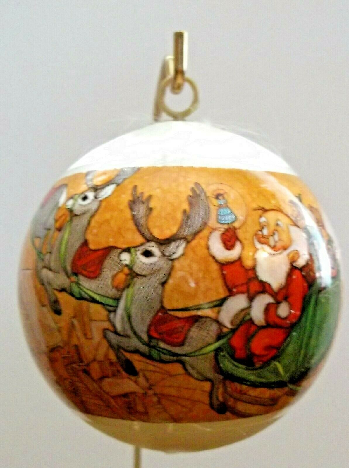 Primary image for Holiday Greetings Santas Sleigh Satin Ball Ornament.with Box Unbreakable