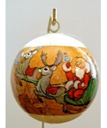 Holiday Greetings Santas Sleigh Satin Ball Ornament.with Box Unbreakable - $7.91