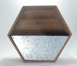 """11.75"""" Wood Wall Mount Hexagon Shaped Wall Pocket with Removable Galvanized Bin - $56.38"""