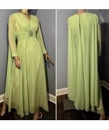 VTG 70s Seafoam Green Chiffon Drape Back Formal Evening Gown 6/8~Wedding... - $140.00