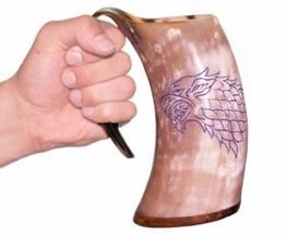 Viking Drinking Horn Mug Game Of Thrones Direwolf Genuine Style Engravin... - $59.99