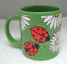 Waechtersbach Germany Ladybug & Daisy Bright Green Coffee Mug Cup 3 3/4 ... - $29.69