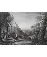 ITALY Castel Gandolfo & Lake of Albano - 1864 Fine Quality Print Engraving - $35.96