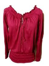 DEREK HEART Smocked Top Jr. M Cranberry Red Off-shoulder Ruffled blouse ... - $7.91