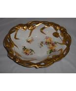 Antique Porcelain Oval Bowl PROV SXE ES Germany Floral Heavy Gold NICE - $44.55