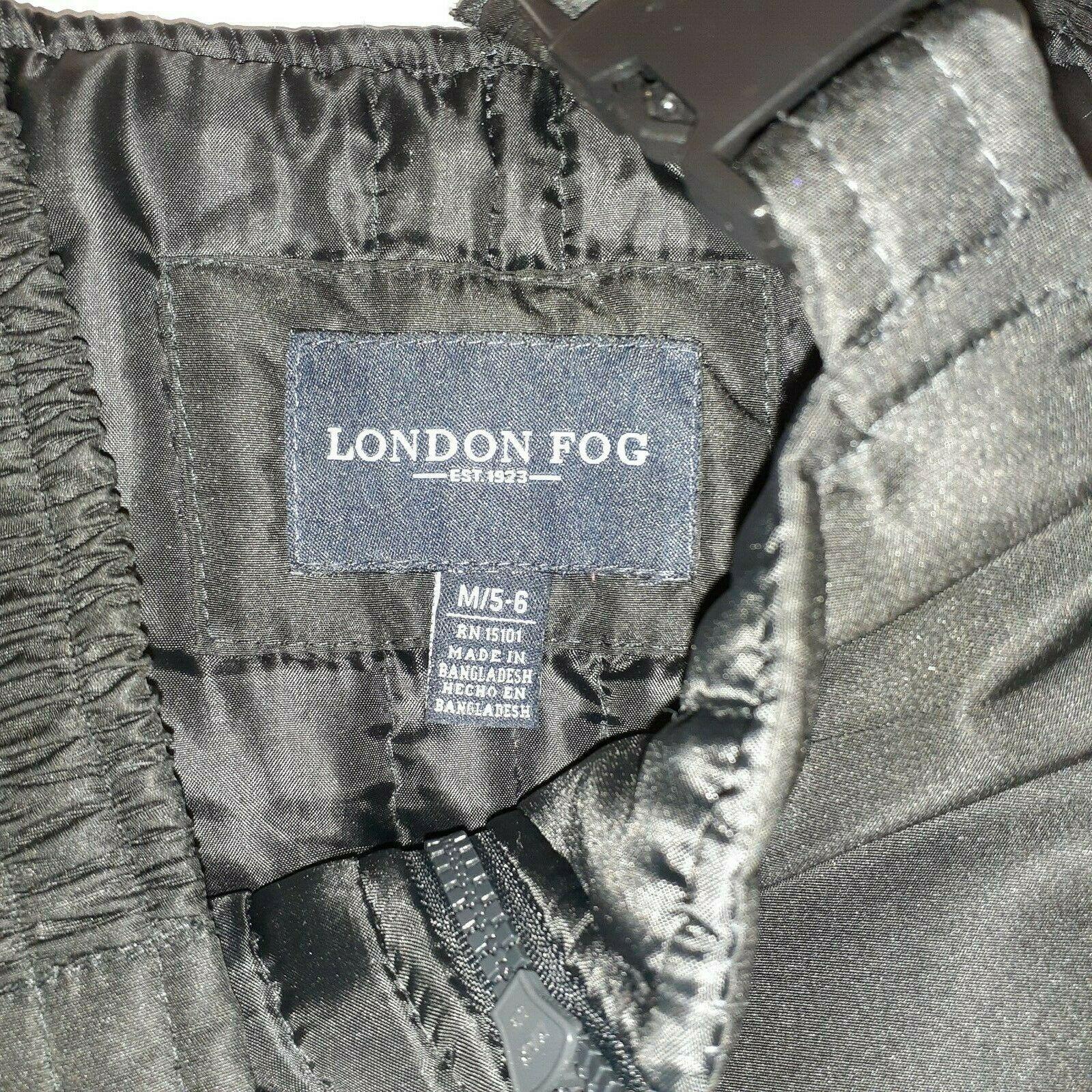 LONDON FOG KIDS BLACK SNOW OVERALLS, INSEAM 18 LENGTH 28 (FULL BODY)