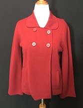 Talbots Red Size L Double Breasted Lined Jacket Cardi 100% Merino Wool P... - $19.72