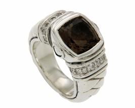 ¦Scott Kay 925 Sterling Silver Diamonds Smoke Topaz Ladies Ring Size 6.5... - £219.44 GBP
