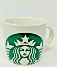 Starbucks Coffee Mug Green Mermaid Logo White Barrel 14 Oz 2017 Christma... - $18.99