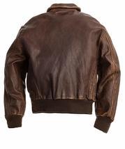 A2 Navy Flight Men Distressed Brown Genuine Leather Aviator Bomber Jacket image 2