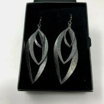 """Avon Textured Fashion Hematite Wire Pierced Teardrop Dangle Earrings 3"""" NIB - $9.50"""
