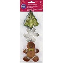 Wilton Christmas Shapes Gingerbread Boy Snowflake Tree Metal Cookie Cutt... - $4.99