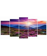 Wieco Art Mountains in Sunrise 5 Panels Giclee Canvas Prints Wall Art Pu... - $38.64