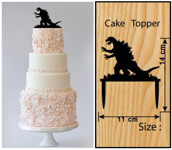 Wedding,Birthday Cake topper,Cupcake topper,silhouette Godzilla Package : 11 pcs