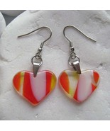 Orange italian heart glass earrings,murano glass,handmade,surgical steel - $16.00