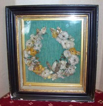 victorian  mourning feather wreath shadow box - $120.00