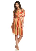 NWT ANNE KLEIN RED STRIPED CHIFFON SHIRT DRESS SIZE 4 $99 - $28.49