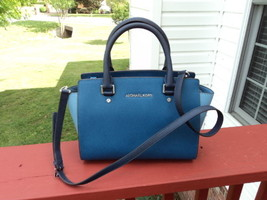 Authentic Michael Kors Medium Selma Saffiano Leather Satchel Steel Blue/... - $197.99
