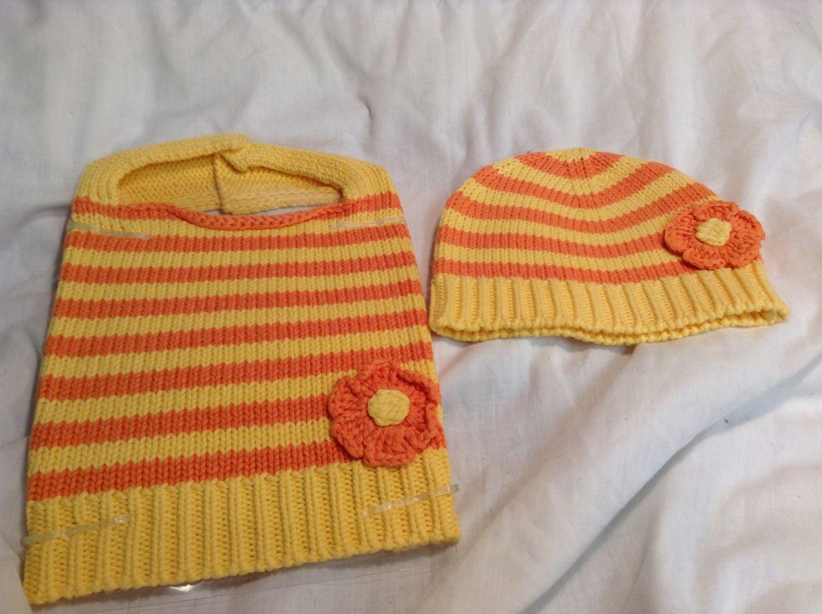 NEW Orange Yellow Knit Baby Cap and Bib