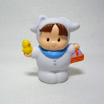 Fisher Price Little People Boy in White Bunny Suit w Orange Basket & Chick - $4.50